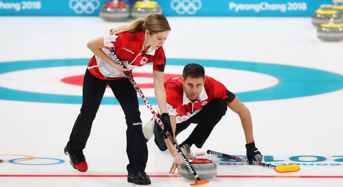 Team canada playing doubles curling at the 2018 olympic games in Pyeongchang
